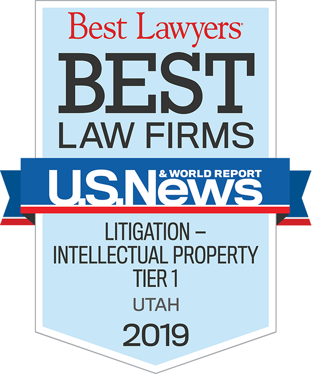 TNW was awarded Best Law Firms for Litigation Intellectual Property Tier 1 Utah 2019 by U.S. News World & Report / Best Lawyers®.